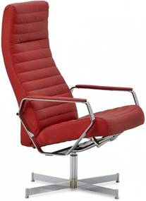 Montel Relaxfauteuil Happy + Hocker Signal Red