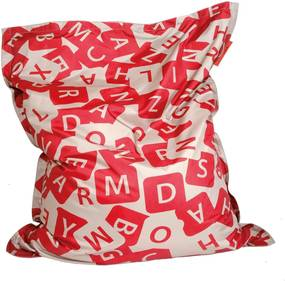 Ziczac Zitzak Lazy Letters - Taupe/Rood