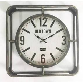 Metal Square Frame Clock Old Town 52*10*52cm Glass Cover