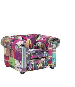 Fauteuil patchwork paars - relaxfauteuil - tv-fauteuil - CHESTERFIELD