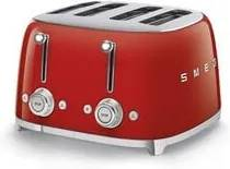 Smeg 50's style broodrooster 4 sleuven staal rood