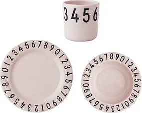 Design Letters Gift Set The Numbers Inclusief Bord + Diep Bord + Beker - Roze